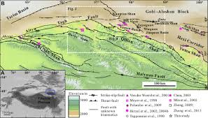Tibetan Plateau Map Late Quaternary Slip Rates Of The Thrust Faults In Western Hexi
