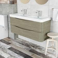 double sink wall hung vanity unit eaton wall mounted double vanity unit grey elm resin basin 1200mm ebay