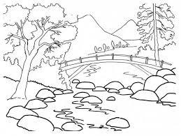 Coloriage Paysage Pont sur la Rivière dessin gratuit à imprimer