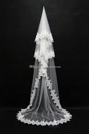 3 meters lace edge bridal veils for women white ivory tulle