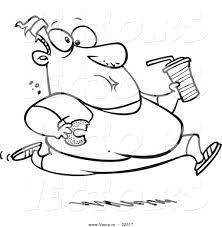 vector of a cartoon fat man running and eating junk food