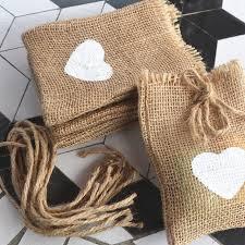 burlap drawstring bags 20pcs white heart print jute hessian burlap