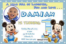 First Year Invitation Birthday Cards Baby Mickey First Birthday Invitations Iidaemilia Com