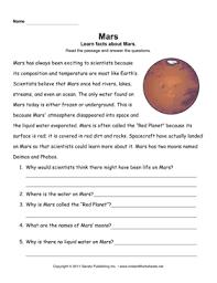 mars comprehension u2014 instant worksheets
