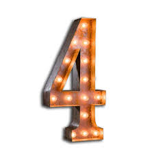 marquee numbers with lights letter light number 4 the vintage industrial