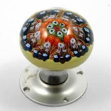 Glass Doorknob Millefiori Cartwheel Paperweight Strathearn Doorknob Vintage Art