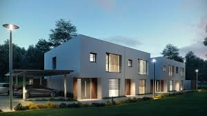 multifamily house semi detached houses in austria 3d architectural visualizations