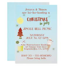 Christmas Party Invitations With Rsvp Cards - christmas in july invitations u0026 announcements zazzle