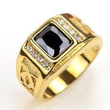 gents ring finger gold color finger rings for men women with black cubic
