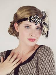 feather headbands party girl flapper headband black and chagne feather headband
