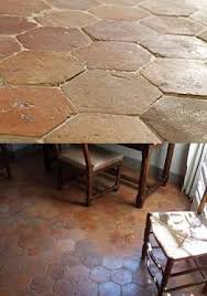 kitchen floor and outside terrace antique hexagonal terracotta