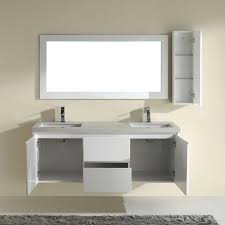 Inch High Gloss White Floating Bathroom Vanity With Quartz - Bathroom vanities with quartz countertops