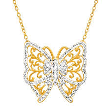 swarovski gold plated necklace images Crystaluxe butterfly necklace with swarovski crystals in 18k gold jpg
