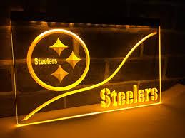 pittsburgh steelers led light sign football bar pub decor