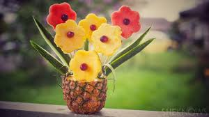 how to make fruit arrangements tropical fruit bouquet in a pineapple vase