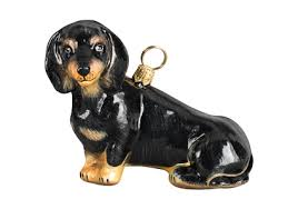 black dachshund sitting glass christmas ornament by joy to the