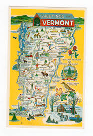 Manchester Vt Map Chrome Postcard Greetings From Vermont Map 1983 Jackie U0027s