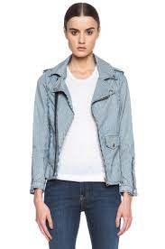 denim motorcycle jacket lotan denim biker jacket in natural u0026 navy
