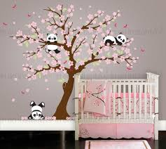 cherry blossom wall decal playful pandas in cherry blossom tree