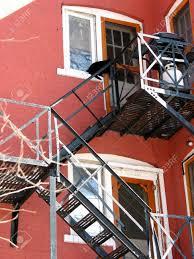 escape on brick building black cat on top window stock