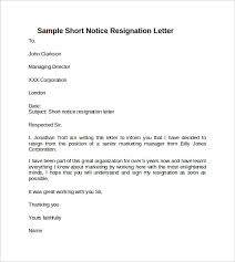 samples for resignation letter with notice period docoments