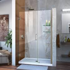 dreamline unidoor 45 in to 46 in x 72 in frameless hinged pivot dreamline unidoor 45 in to 46 in x 72 in frameless hinged pivot shower door in brushed nickel with handle shdr 20457210s 04 the home depot