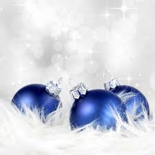 christmas background with blue silver ornaments on billowy