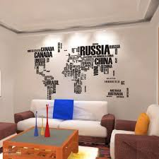 Home Wall Decor by World Map Wall Stickers Home Art Wall Decor Decals For Living