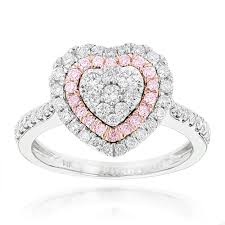 heart rings images Rings unique white pink diamonds heart ring for women 14k gold 1ct jpg