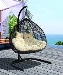 Hanging Chair Outdoor Furniture Synthetic Wicker Dual Seater Hanging Chair Dl9129bk