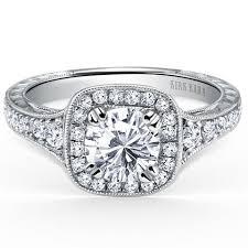 Vintage Style Cushion Cut Engagement Rings Designer Kirk Kara Cushion Cut Halo Engagement Rings Antique