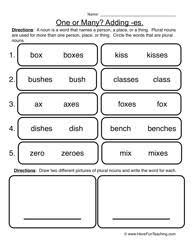 Plural Nouns Worksheets Plural Noun Worksheet 2 Adding Es