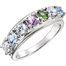 7 mothers ring birthstone split shank mothers ring