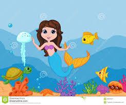 cute mermaid cartoon waving hand stock vector image 39805937