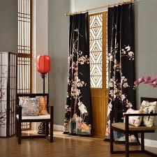 Black Floral Curtains Black Floral Vintage Light Blocking Bird Curtains