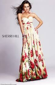 sherri hill long floral print prom dress 3754 french novelty