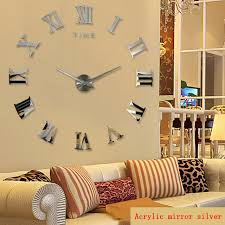 Home Decor Clocks Promotion 2016 New Home Decor Large Roman Mirror Fashion Modern