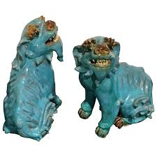 turquoise foo dogs for sale pair of turquoise glazed shiwan pottery foo dogs for sale