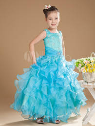 flower dress aqua floor length ruffles ball gown toddler u0027s