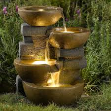 jeco pots water outdoor fountain with led light hayneedle