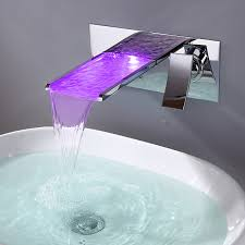 Bathroom Waterfall Faucet by Sink Faucet With Color Changing Led Waterfall Faucet Wall Mount