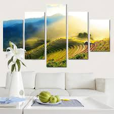 5 panel modern spray painting rice field canwas wal art oil