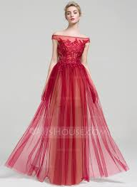 a line princess off the shoulder floor length tulle prom dress