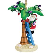 amazon com santa decorating a palm tree christmas ornament by