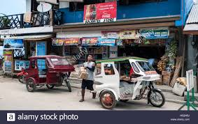 tricycle philippines motor tricycle taxi el nido palawan philippines stock photo