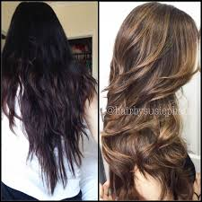 from dark brown to light brown hair transformation going for a subtle brown sombre career modern salon