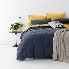 Wash Duvet Cover Vintage Washed Quilt Cover Set Qb Blue Home Lincraft