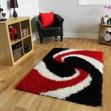 Black And Red Shaggy Rugs Swirl Red U0026 Black Shaggy Rug Helsinki Kukoon