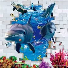 3d stereo huge fish underwater world effect tv backdrop living