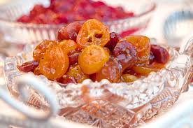 kumquat and dried cherry chutney and cranberry orange relish
